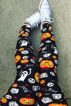 Euramerican Pumpkin Printed Skinny Black Pants