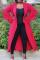 Sweet Lotus Leaf Sleeves Red Blending Long Coat