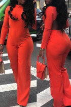 Fashionable Backless Jacinth Twilled Satin One-piece Jumpsuit