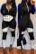 Casual Patchwork Black Blending One-piece Jumpsuit