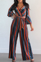 Casual Trumpet Sleeves Striped Patchwork Red Blending  One-piece Jumpsuit