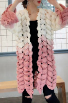 Casual Long Sleeves Hollow-out Light Pink Cotton Coat