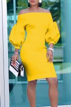 Temperament Lantern Sleeves Yellow Knee Length Dress
