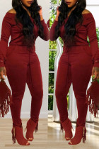 Casual Wine Red Blending Skinny One-piece Jumpsuit