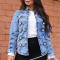 Casual Double Breasted Design Blue Denim Coat
