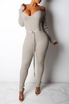 Casual Long Sleeves Beige Knitting Skinny One-piece Jumpsuit