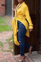 Sweet  Lace-up Yellow Blending Shirts