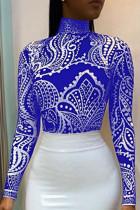 Casual Printed  Blue Blending T-shirt