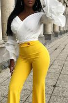 Trendy Flounce Design White Shirts