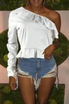 Trendy Dew Shoulder White Twilled Satin T-shirt