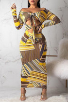 Trendy Hollowed-out Yellow Mid Calf  Dress