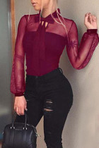 Sexy See-through Wine Red Bodysuit