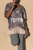 Casual Hollowed-out Grey T-shirt