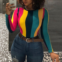 Casual Striped Multicolor Long Sleeve T-shirt