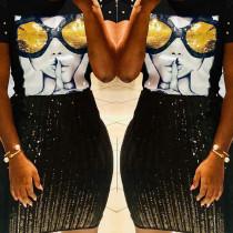 Chic Sequined Decorative Black Blending T-shirt