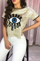 Trendy Patchwork Gold Sequined T-shirt