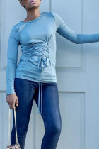 Casual Lace-up Baby Blue Twilled Satin T-shirt