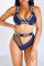 Sexy Hollowed-out Printed Deep Blue Two-piece Swimwears