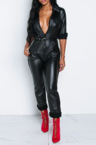 Casual Deep V Black PU One-piece Jumpsuit