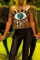 Sweet Character Gold Sequined T-shirt