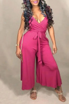 Euramerican Loose Rose Red Twilled Satin One-piece Jumpsuit