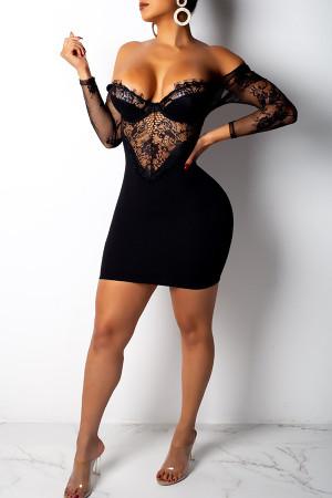 Party Patchwork Black Twilled Satin  Mini  Dress