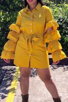 Sweet  Layered  Flounce Yellow Blending Mini Dress