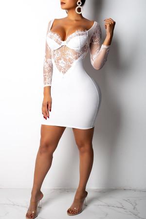 Party Patchwork White Twilled Satin  Mini  Dress