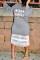 Sweet Patchwork Grey Mid Calf Dress