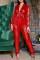Sweet Zipper Design Red One-piece Jumpsuit