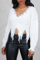 Casual Tassel Design  White Blending Sweaters