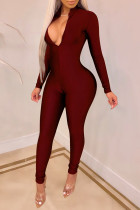 Casual Long Sleeves Skinny Red One-piece Jumpsuit