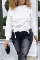 Trendy Bandage White Sweaters