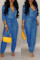 Casual Lace-up Blue One-piece Jumpsuit