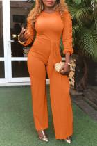 Casual Flounce Design Orange Cotton Blends One-piece Jumpsuit