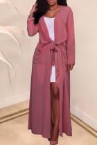 Casual Lace-up Pink Chiffon Coat