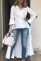 Trendy Long Sleeves Asymmetrical  White Shirts