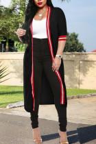 Casual Patchwork Black Long Coat
