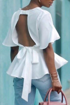 Trendy Hollowed-out White Shirts