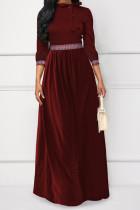 Temperament Patchwork Wine Red Twilled Satin Floor Length Dress