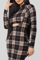 Casual Grids Printed Black Blending Two-piece Skirt Set