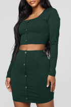 Casual Buttons Decorative Blackish Green Two-piece Skirt Set