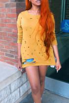 Trendy Broken Holes Orange Yellow T-shirt