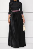 Temperament Patchwork Black Twilled Satin  Floor Length Dress