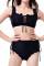 Trendy Flounce Design Lace-up Black Bikinis