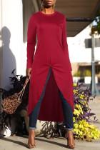 Trendy Asymmetrical Wine Red T-shirt
