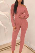 Chic Skinny Dark Pink  Two-piece Pants Set