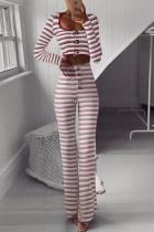 Red Striped Long Sleeve Two PC Sets