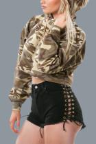 Camouflage Hooded Upset  Beige Fleece