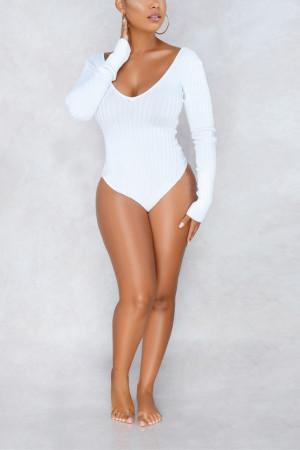 Fashion Sexy Deep V White Bodysuit